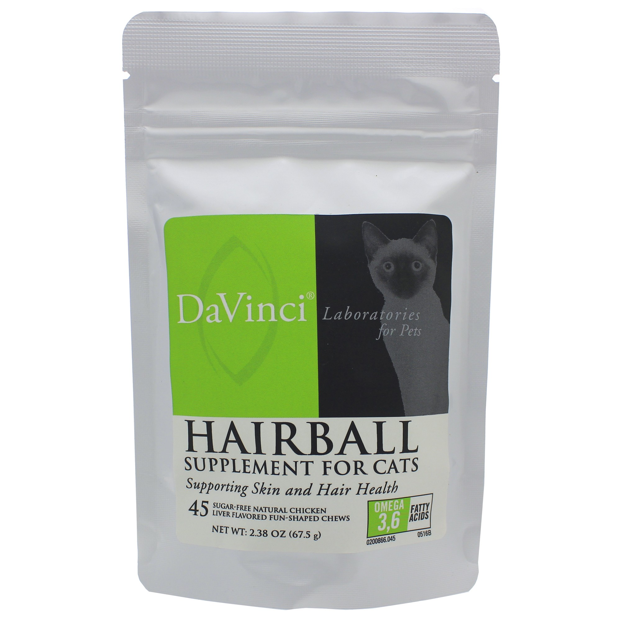 DaVinci Labs Hairball Support for Cats 45 Soft Chews